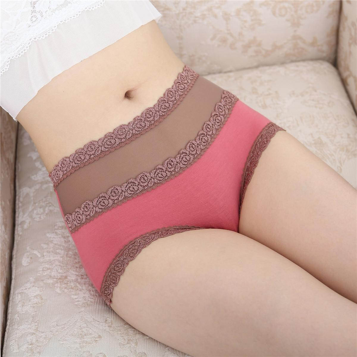 سراويل داخلية مثيرة ارتفاع الخصر السيدات الملابس الداخلية الخيزران الألياف الملابس الداخلية للسيدات مثير الرباط الملابس الداخلية ملخصات اللون الصلبة