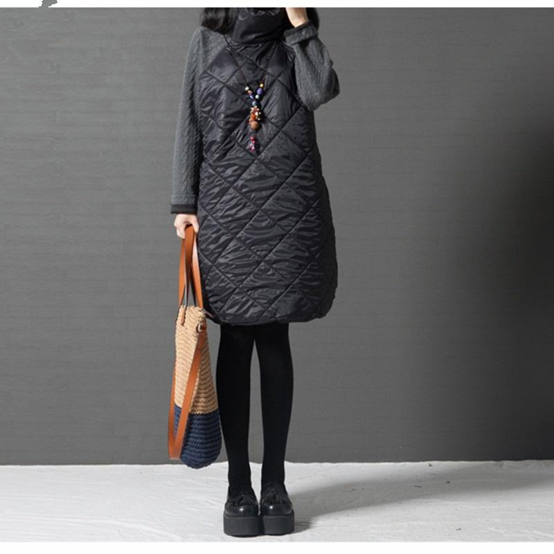 All'ingrosso Moda Autunno diritto allentato abito patchwork nero Ropa Mujer dolcevita femmina giù Vestidos abiti invernali tunica