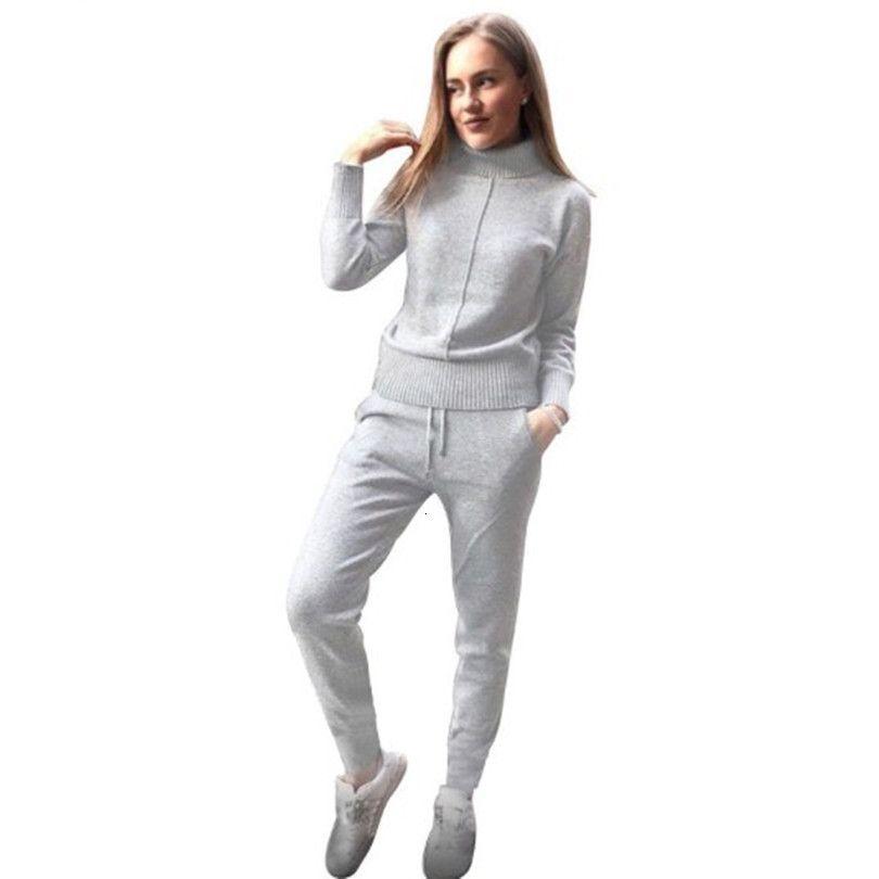 MVGIRLRU Frau Wolle, Strickanzug weiche warme Winter-Anzug Weibliche Mitte Linie Pullover Pullover Hose 2-teiliges Set Übermaß V191129