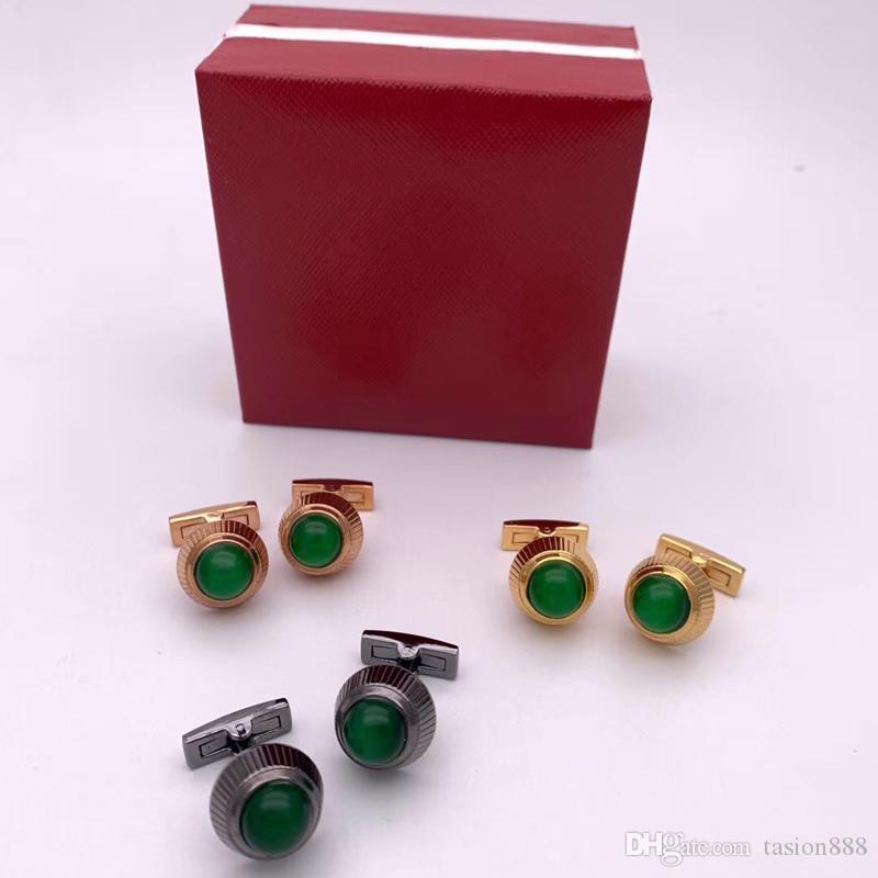 Casse-tête de luxe à cristaux verts pour boutons de manches cadeaux de mariage Vente chaude de boutons de manchette français de luxe pour hommes