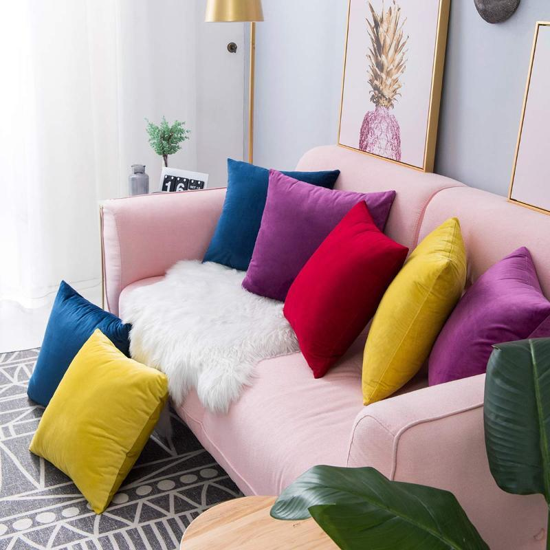 New Velvet Cushion Cover Decorative Pillows Throw Pillow Case Solid Home Decor Office Nap Backrest Sofa Seat Cushions