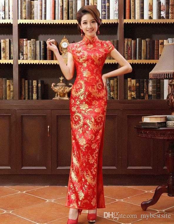 Long cheongsam Dress marmaid Dress Chinese Improved Etiquette Hotel cheongsam High Slit From Wendy
