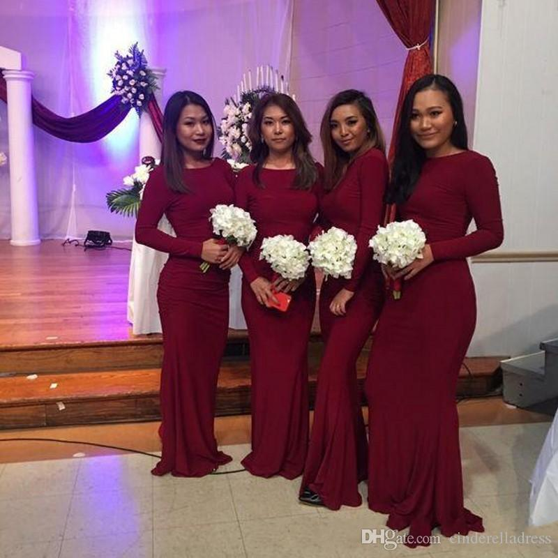 Modern Burgundy Long Sleeve Mermaid Bridesmaid Dresses Scoop Neck Floor Length Formal Wedding Gown Evening Dresses Custom Made Plus Size