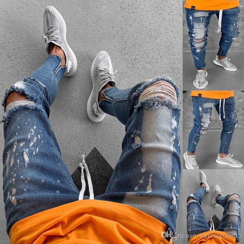 جينز صالح سليم ثقوب الممزق زيبر مصمم سروال رصاص كاني نمط جينز رجالي السائق تمثيل