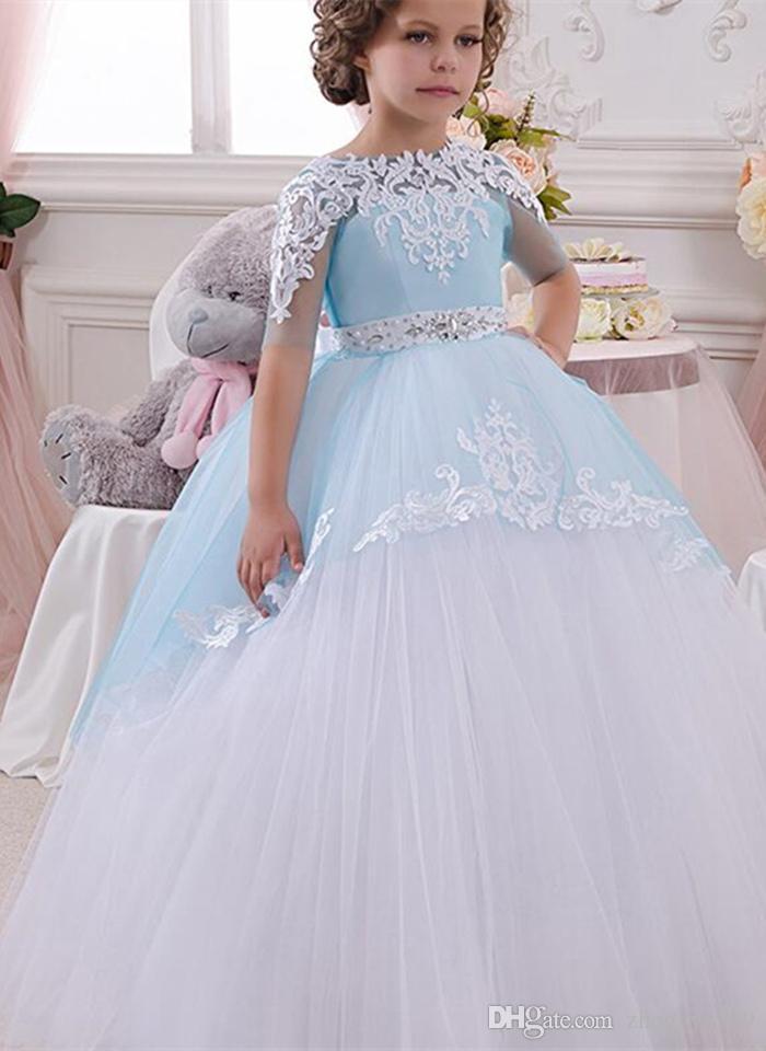 Fille de fleur robes hors épaule dentelle Sash robe de bal net bébé fille fête d'anniversaire robes de reconstitution historique de Noël