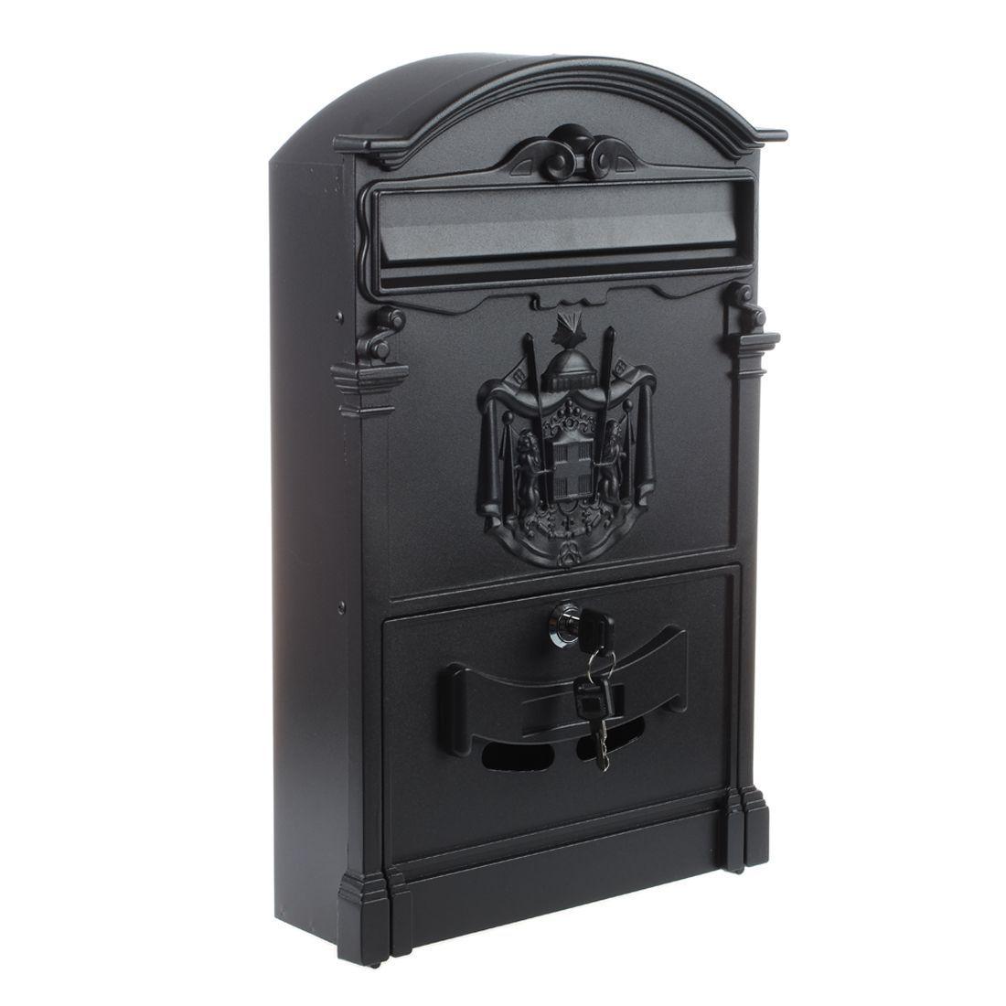Heavy Duty Aluminium schwarz Abschließbare Secure Mail Briefpostfach Letterbox Neue