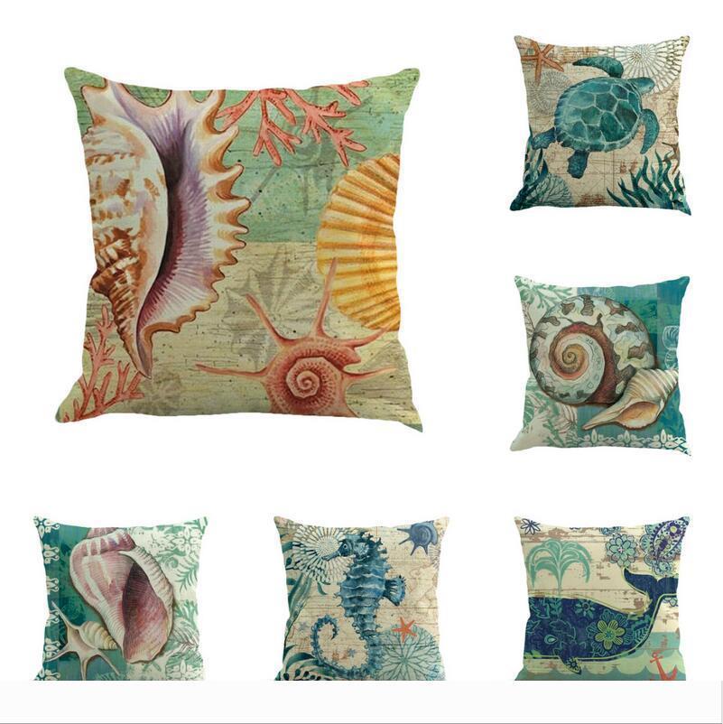 Designer de algodão e almofadas de linho caso concha de tartaruga hipocampo padrão de sofá capa de almofada Home office pillowcas