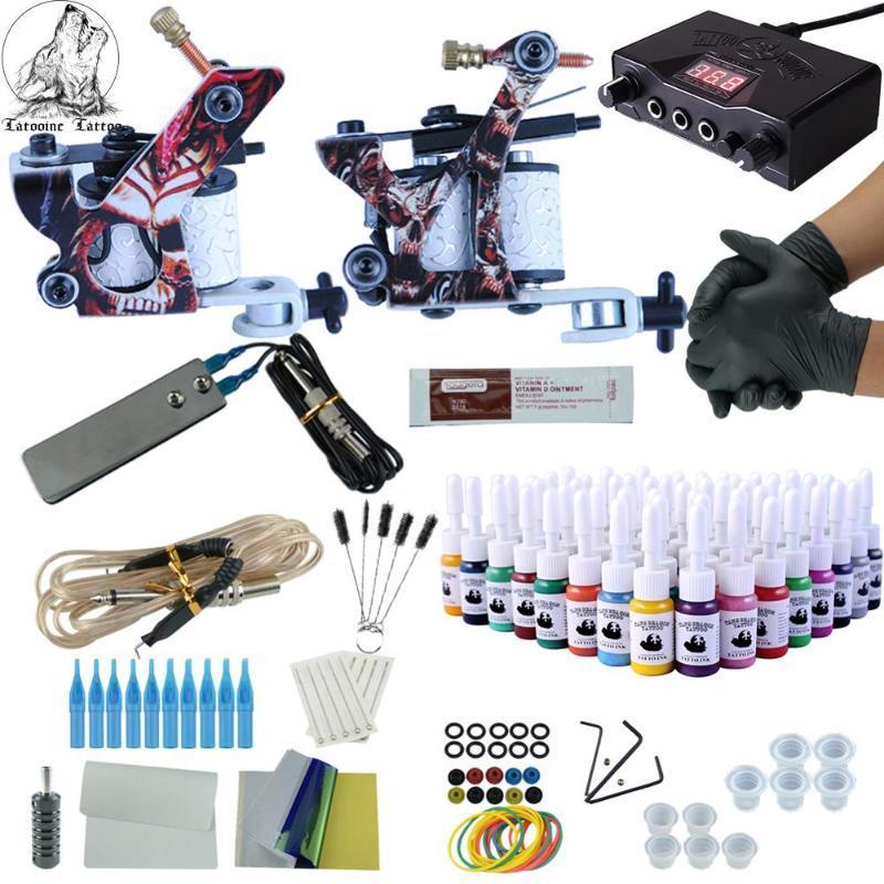 전체 문신 키트 2 개 총 불멸의 컬러 잉크 전원 공급 장치 문신 기계 바늘 액세서리 키트 영구 메이크업 키트