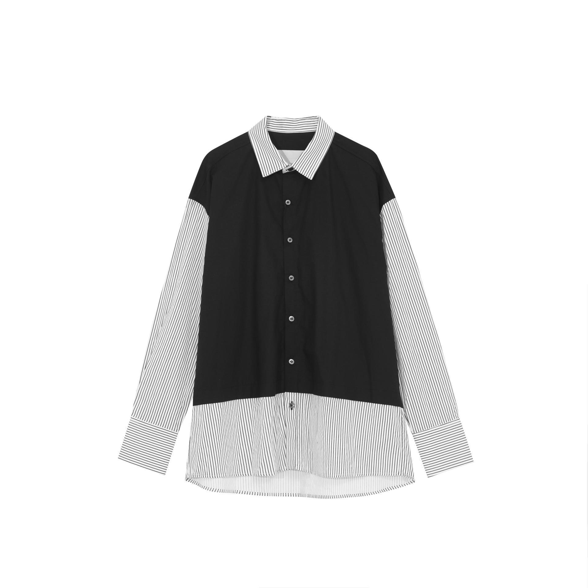Hombres informal camisa a rayas de manga larga de empalme macho Japón Streetwear Hip Hop flojos Moda Vintage camisas