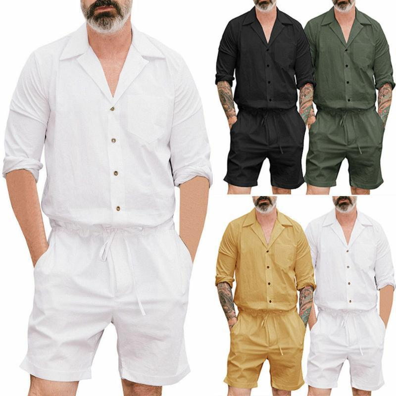 2020 HOT SALE casual v-neck short sleeve summer Men's One Piece Rompers Short Sleeve Street Casual Cargo Pants Jumpsuit Overalls
