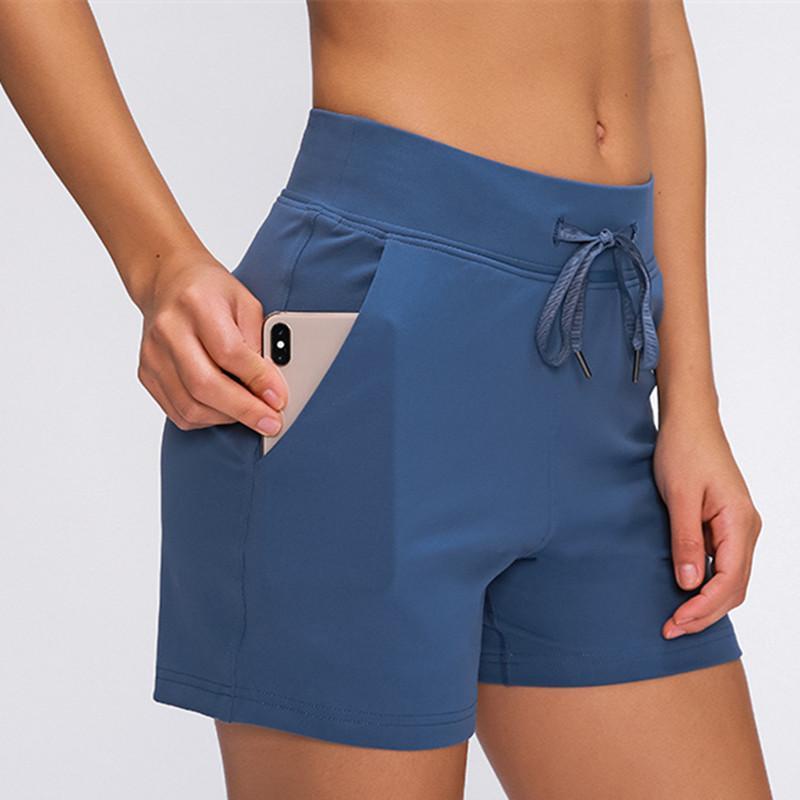 Yoga Şort Serbest zaman etkinlikleri Naylon Yoga Pantolon Gym Egzersiz Şort Kadınlar Anti-ter Yüksek Bel Drawst Run Spor ile Pocket