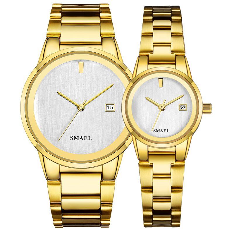 2020 SMAEL reloj oferta de sistema de los pares de lujo de acero inoxidable clásico relojes espléndida dama Gent 9004 conjunto fashionwatch impermeable