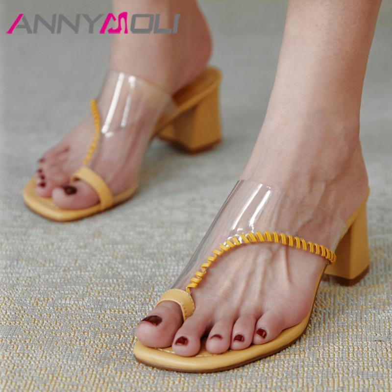 ANNYMOLI Flip Flops Women Slippers Transparent High Heel Slides Square Toe Thick Heels Shoes Summer Sandals Female Beige Size 40