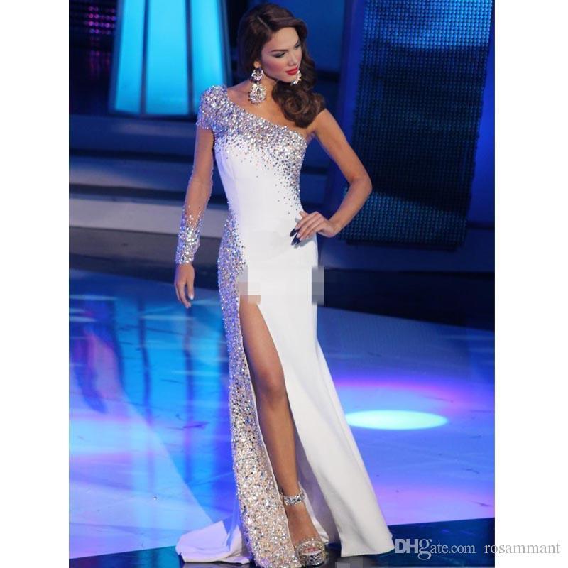 Мисс Венесуэла Pageant Вечерние платья 2019 Белое платье на одно плечо с длинными рукавами и разрезом по бокам Кристаллы для сексуального выпускного вечера Платье знаменитости