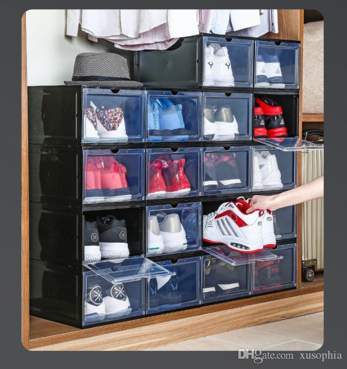 10PCS / الكثير PP شفافة حذاء التخزين البلاستيكية صناديق التخزين للأتربة يمكن طيها درج صندوق تخزين مجلس الوزراء وCZG 003-2 قابل للنقل