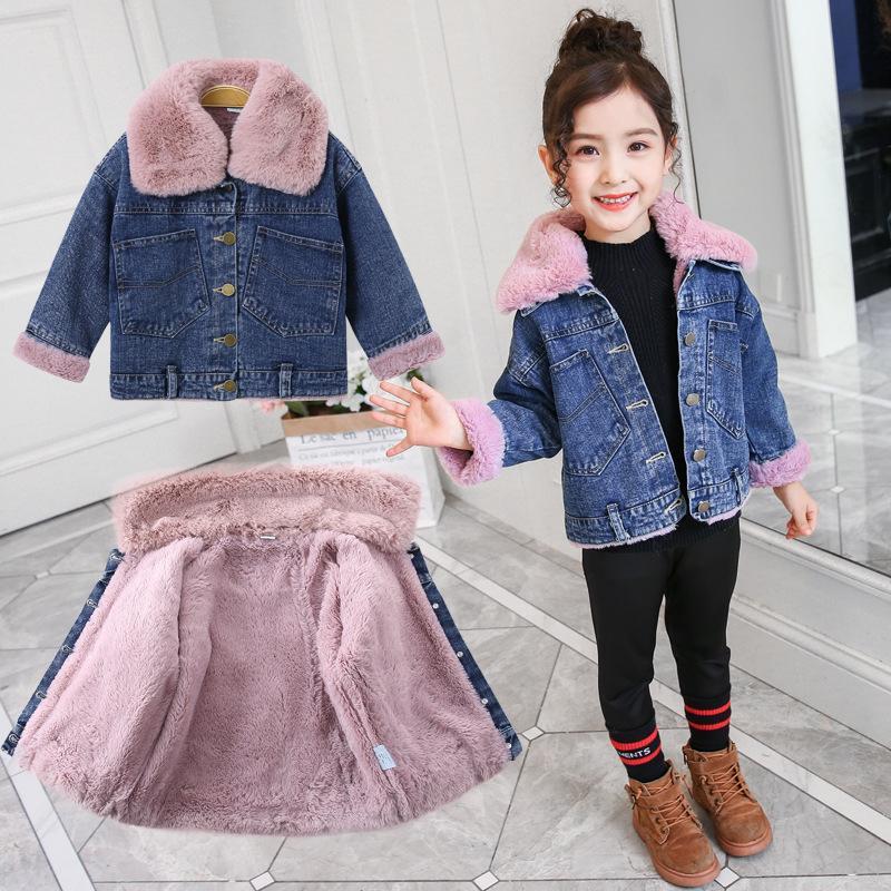 Meninas Aqueça Denim Coats Inverno Crianças Moda grossa de veludo Roupa Casacos quente para Bebés Meninas Crianças Doorout Jackets Adolescente