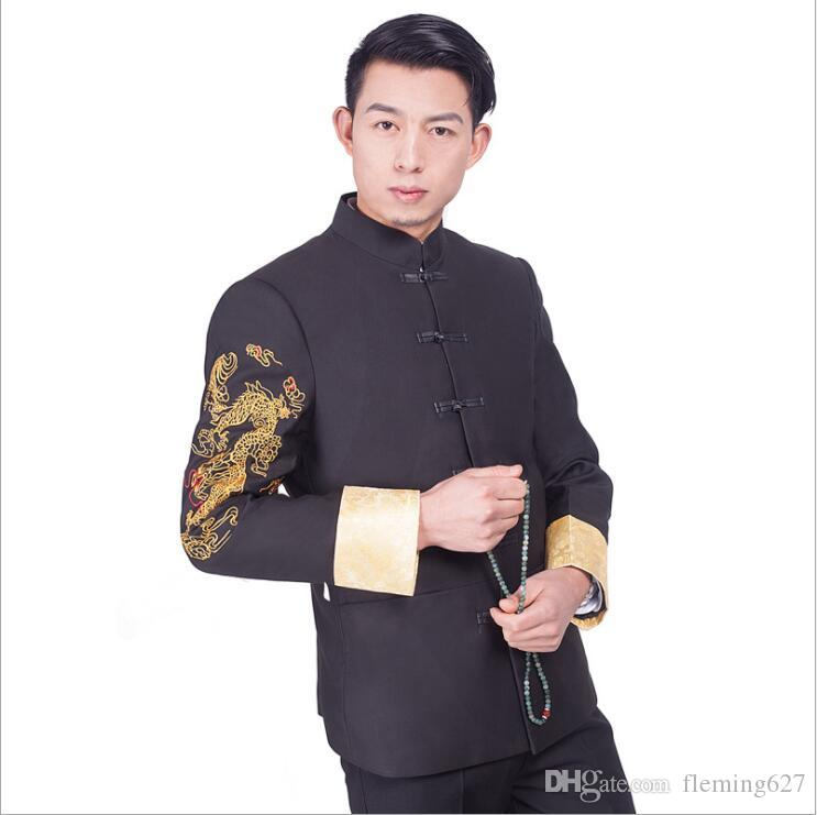 Zhongshan China National costume Youth clothes Chinese style traditional suits jacket + Pants men Garment male Kungfu clothing