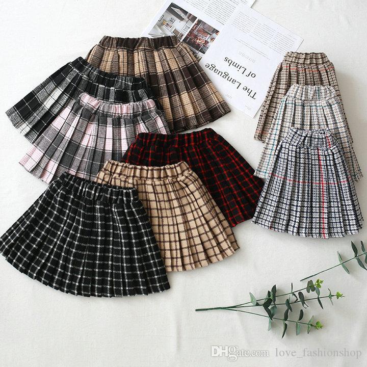 Retail kids luxury designer clothes girls thicken Classic plaid woolen pleated skirt fashion ruffle tutu skirts children clothing 50% off