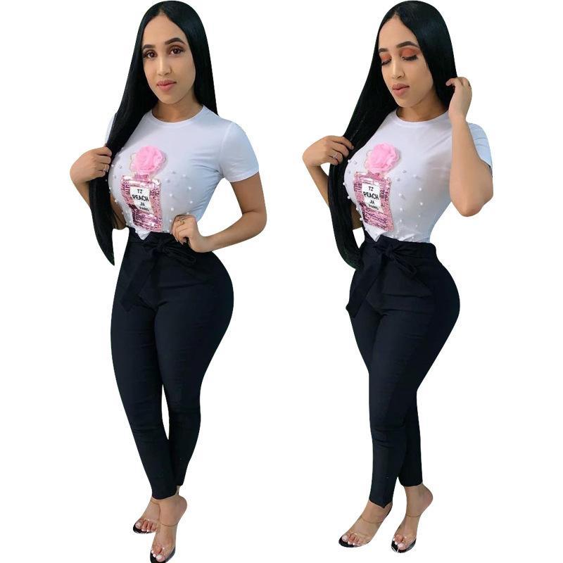 Verão 2020 T-shirt venda quente das mulheres mostram um traço fino floral peito garrafa de pérolas lantejoulas T-shirt applique blusa inferior blusa blusa