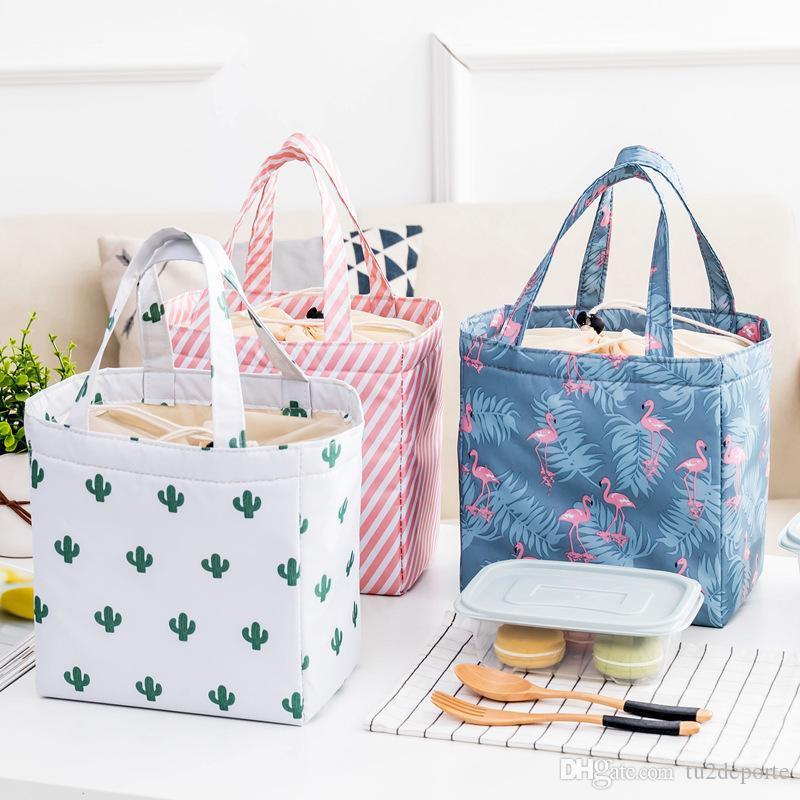 Lady Lunch Bag Insulated Reusable Lunch Tote Organizer Color Storage Bag Drawsting Lunch Handbag Box Fold Fold Fold