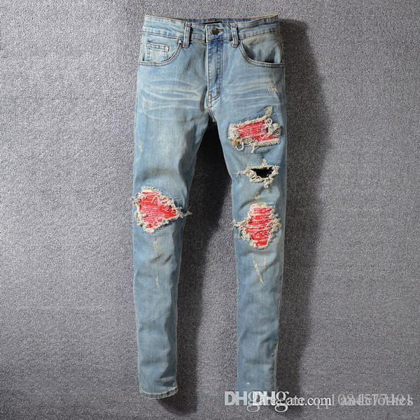 мужские 2019 роскоши дизайнер кальсон Узких джинсов высокого качества джинсов мужских 2019 тенденция дизайнер тонких моды мужские джинсы огорчали