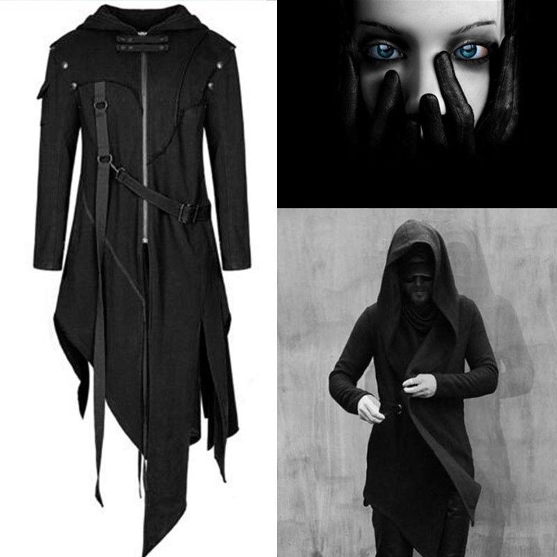 악마 패션 남성 고딕 양식의 후드 자켓 코트 블랙 펑크 어쌔신 크리드 코스프레 의상 할로윈 여성 망토 가디건