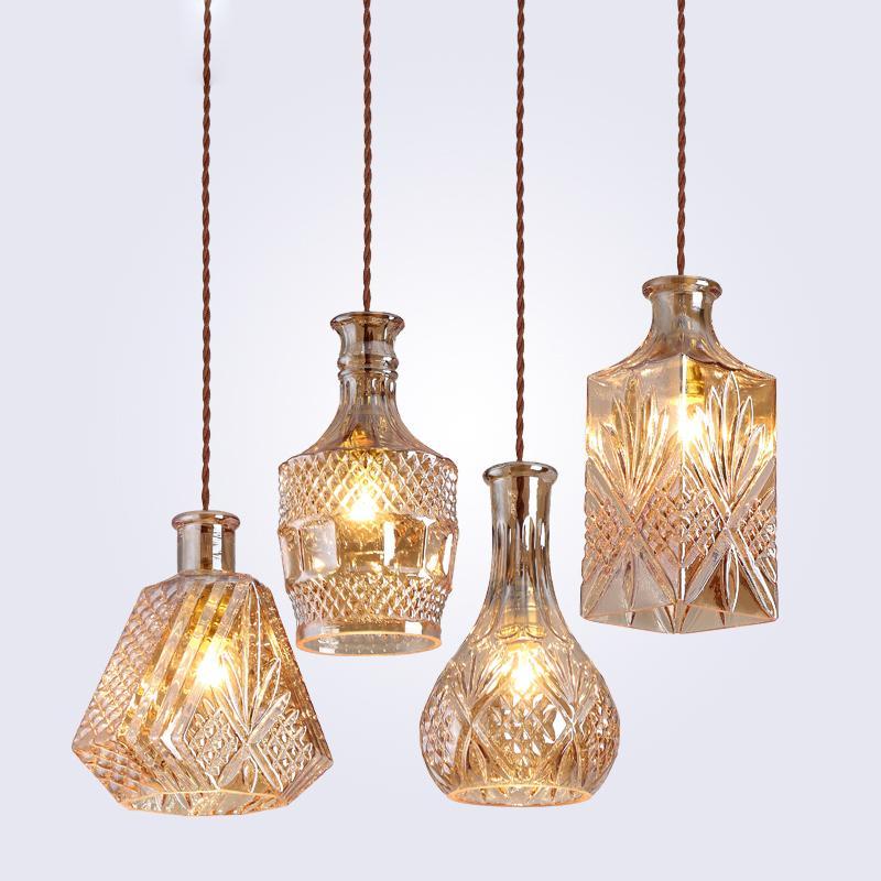 الحد الأدنى الحديثة خمر زجاجة خمر قلادة الأنوار CafeRoom / بار مصباح واحد قلادة زجاج مصابيح إضاءة الديكور داخلي