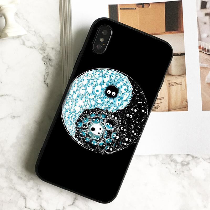 Fundas Luxus Niedlich Tai Ji Kunst-Telefon-Kasten für iPhone 11 Pro Xs Max Xr 8 7 6s Plus 5 SE-Kasten-weichen Schwarz TPU Silikon-Abdeckung.
