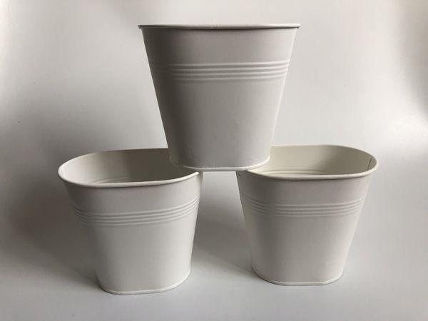 Acheter Blanc Vase Petit Centres De Table Décoratifs Vase En Métal Seau  Jardin Boîte En Fer Blanc Pots De Fer Planteur De Fleurs De Mariage De  $2.47 ...