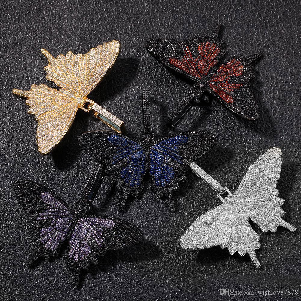 아이스 아웃 동물의 큰 나비 펜던트 목걸이 실버 블루 도금 남성 힙합 블링 보석 선물 도매