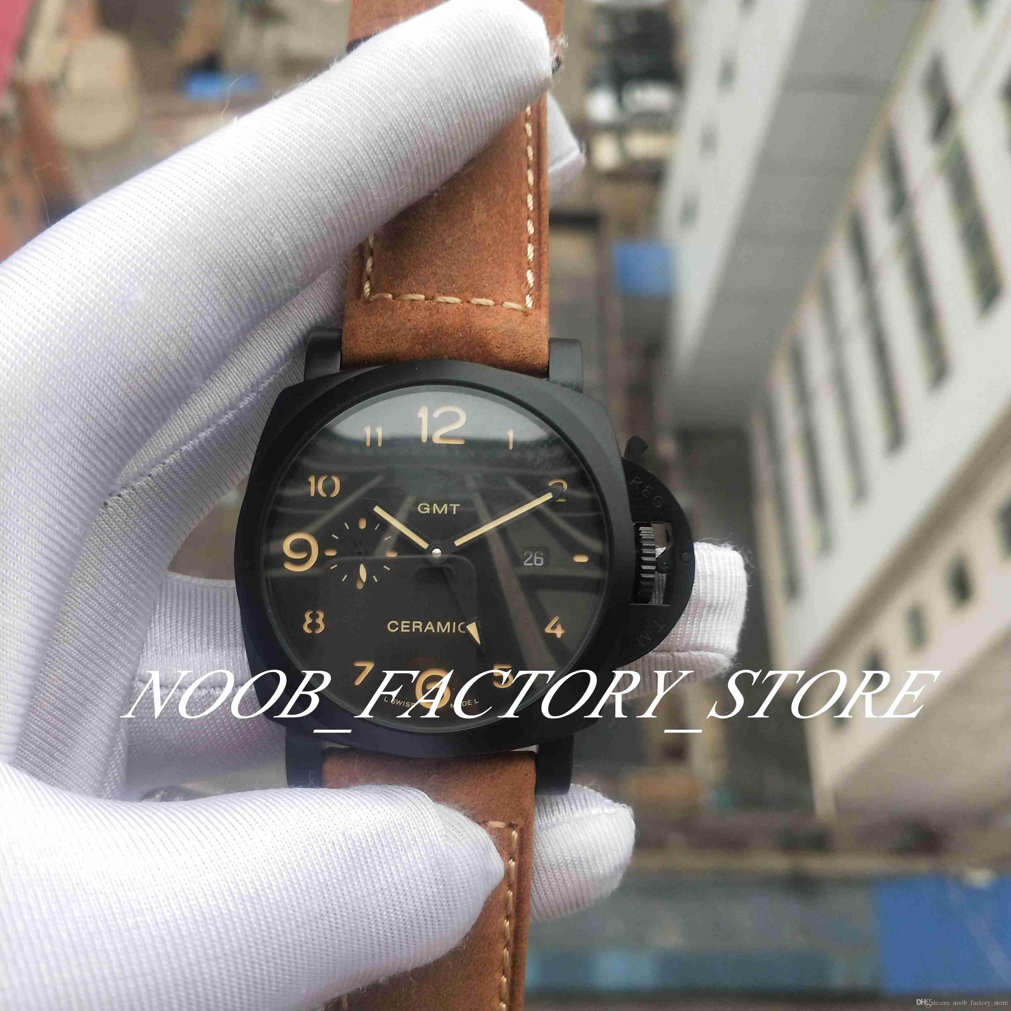 مصنع جديد حقيقي صور ووتش 44 ملليمتر الوجه الأسود براون حزام سوبر 1950 ص 441 التلقائي حركة أزياء رجالي الساعات مع أوريينا مربع