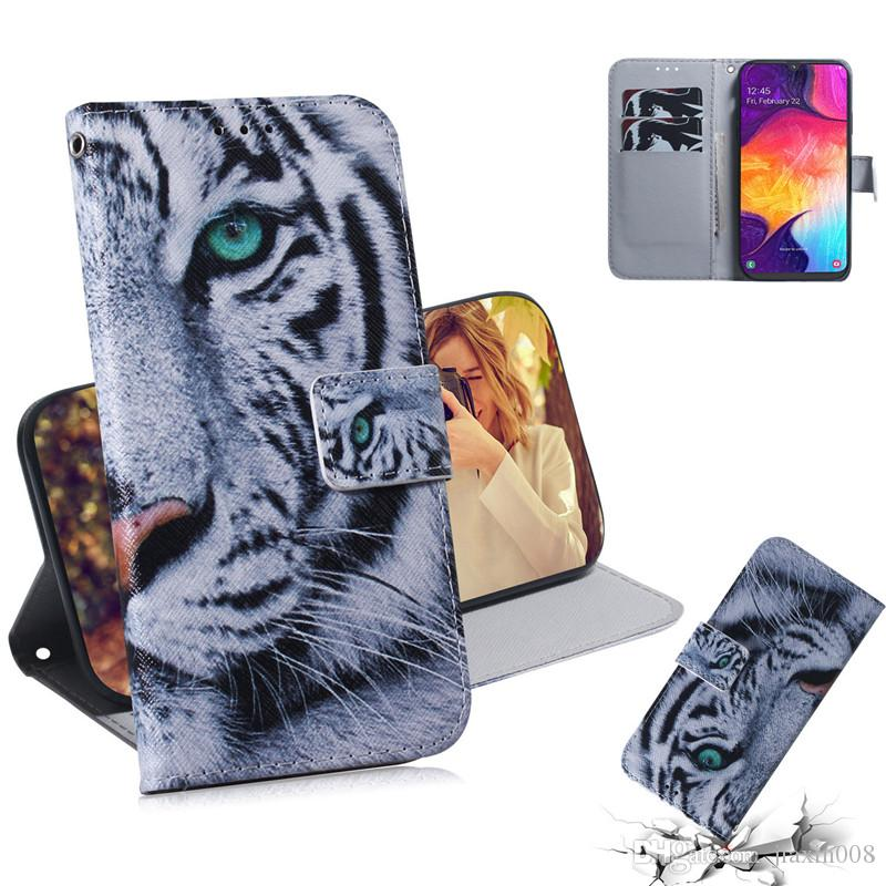 Wallet Case For Samsung Galaxy A50 Filp Cover Hot selling Coloured pattern Wolf tiger lion Owl Dog With Card Slot Design