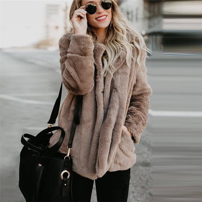 Moda Sólido Delgado Faux Fur Coat Women 2018 Casual Otoño Invierno Cálido Suave Fleece de manga larga grueso abrigo de peluche prendas de abrigo chaqueta