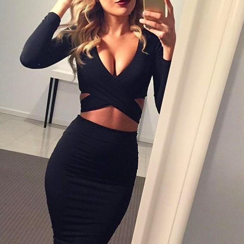 Sexy Club Deep V -Neck Bodycon Long Sleeve Elegant Party Dresses Midi Pencil Bandage Dress Blue White Black Red Gray
