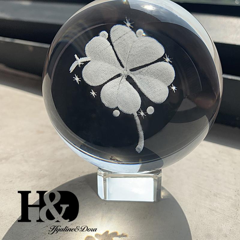 HD 6CM 3D Бал лазерной гравировкой Four Leaf Clover Crystal Ball Glass Sphere Миниатюрные Home Decor аксессуары Украшение подарков Стенд