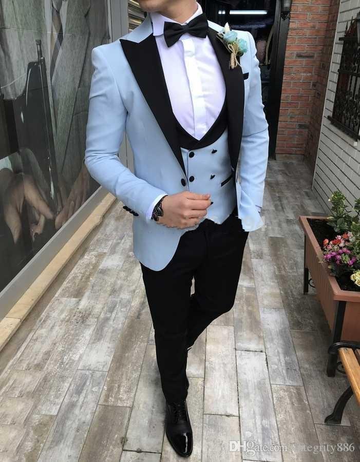 Tuxedos de marié bleu clair Tuxedos de mariage hommes de mariage Excellent hommes d'affaires dîner banquet Blazer 3 pièce costume (veste + pantalon + cravate + gilet) 1230