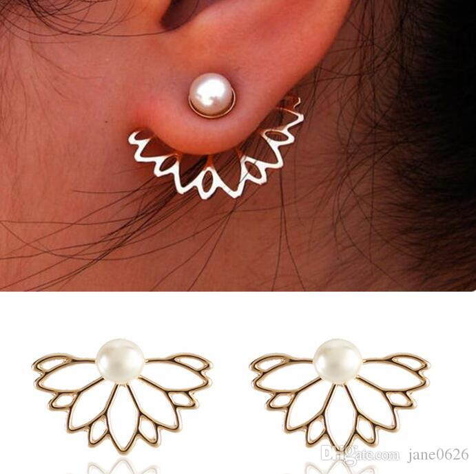 Fashion Pearl Lotus Front and Back Ear Nails Alloy Quick Selling Ear Nail Jewelry the best gift for women and Girl
