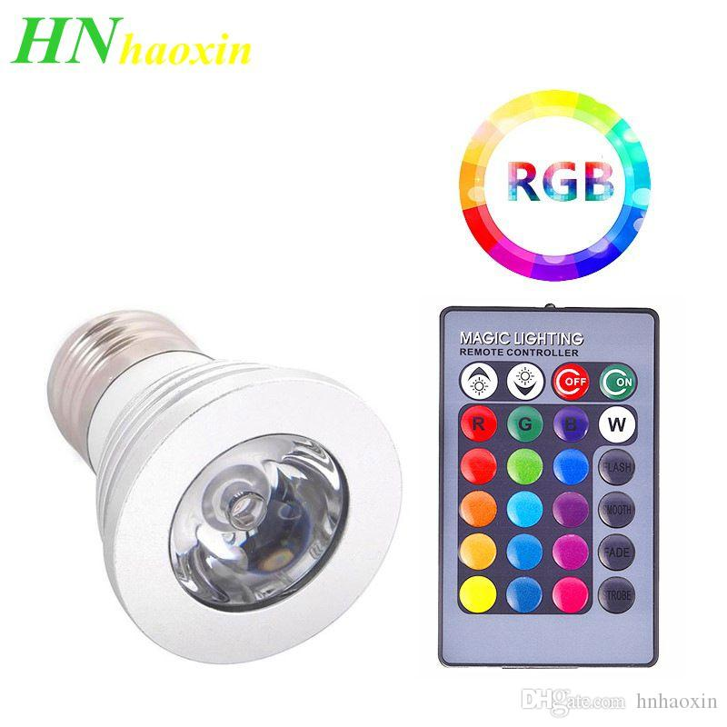 HaoXin 3W High Power E27 RGB LED Bulb Light 16 Color 85-265V 110V 220V Lampada Changing lamp spotlight with Remote Controller