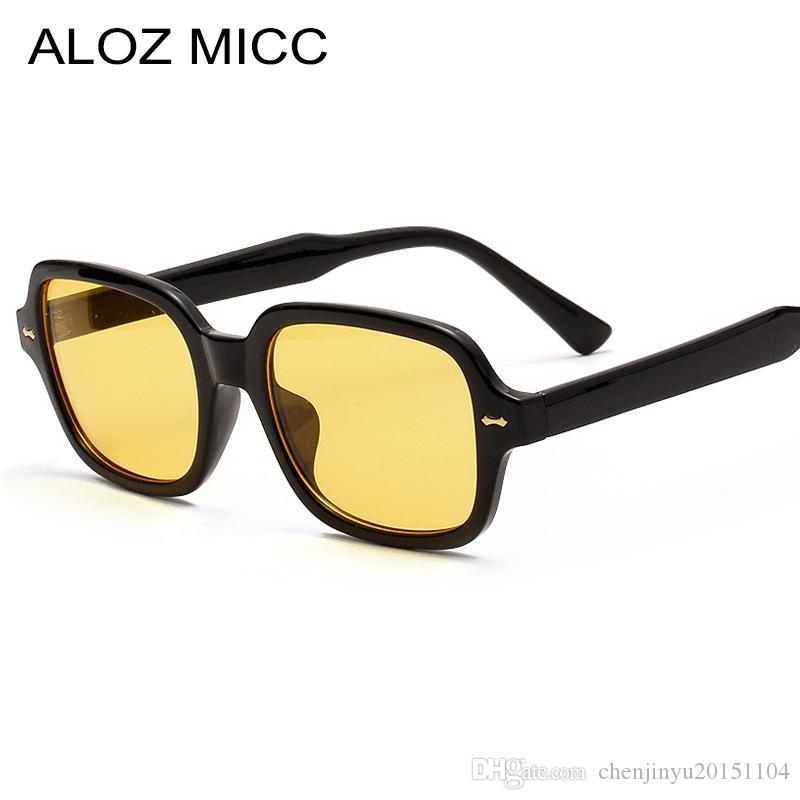 ALOZ MICC Kare Güneş Erkekler Kadınlar Moda Küçük Çerçeve Sarı Güneş Kadın Retro Perçin Gözlük UV400A684