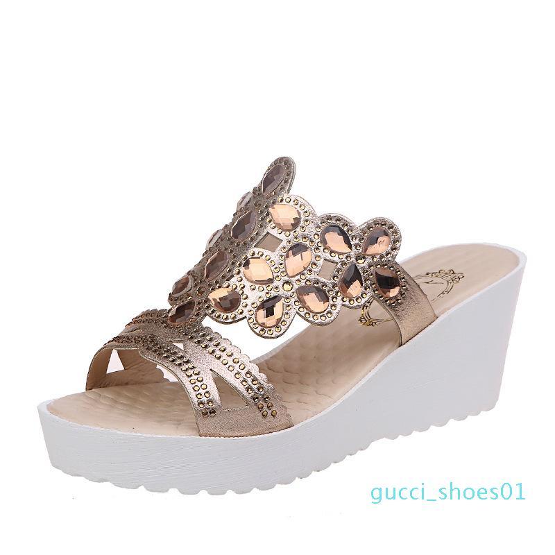Scarpe di grandi donne di formato nuovi modelli esplosione estate 2020 cuneo Strass 34-44 sandali sandali degli alti talloni delle donne G01