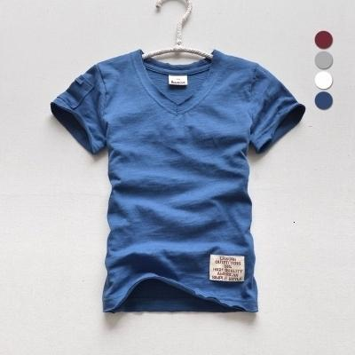 2018 summer boys t-shirts brand pure cotton soft children t shirt short sleeve v-neck casual style solid color kids clothes tees T191013