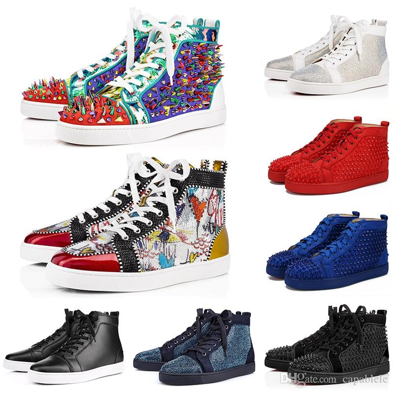Christian Louboutin CL Eur 35-47 Top qualité Bas Red Designer Luxury Spikes cloutés Hommes Chaussures occasionnels hommes Party femmes Lovers Marque sport Athletic Sneakers