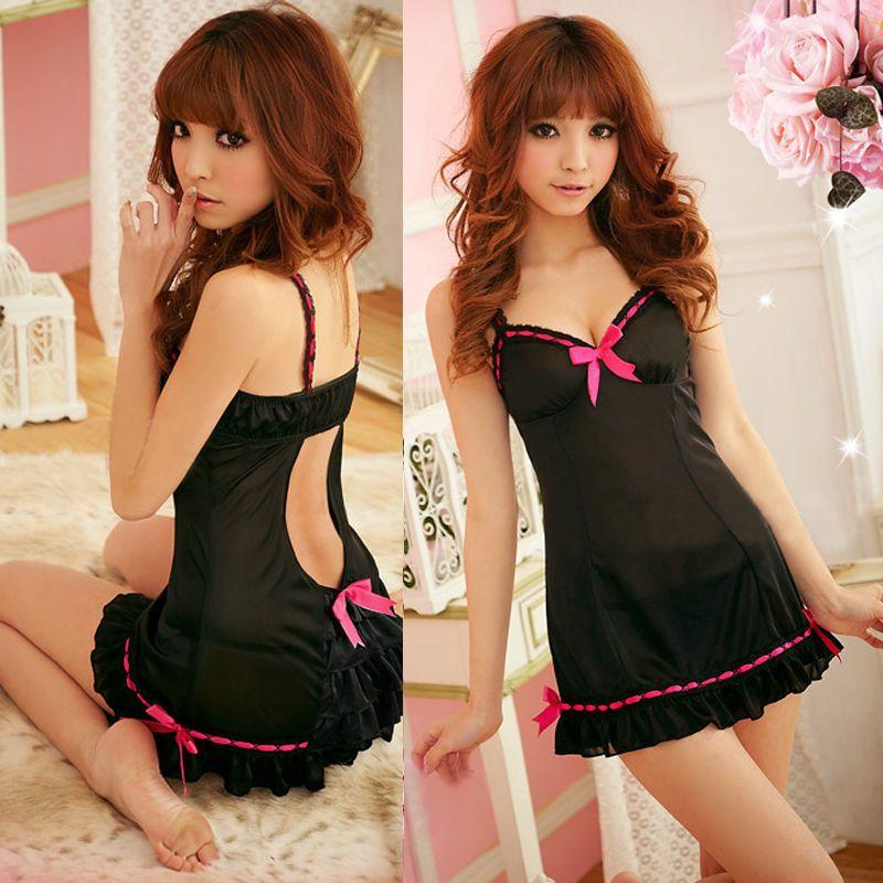 ITFABS Newest Lace Women's Sexy V-neck Sleepwear Halter Robe Black Dress G-string Babydoll Lingerie Nightdress Pajamas Hot