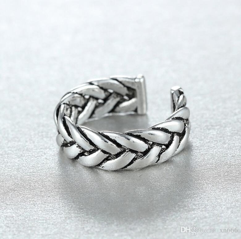 dedo anelar torção índice em cadeia anel de dedo mindinho selvagem prata 925 homens e mulheres anel da cauda do casal abertura