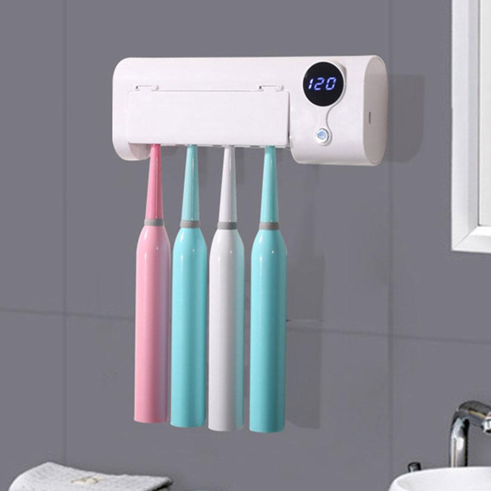 Silencieux lumière UV murale intelligente induction désinfection par rayonnement ultraviolet Brosse à dents stérilisateur Support de stockage Cleaner soins dentaires pour les enfants Accueil