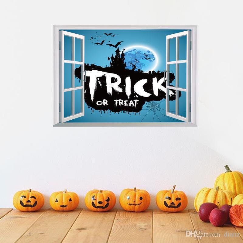 Festliche Halloween liefert Fledermaus Burg dreidimensionale die festliche Ereignis-Party-Dekoration Aufkleber Fensterwand