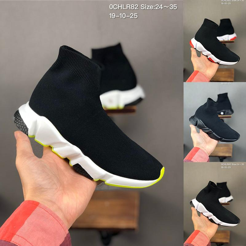 2020 New Triple Style Chaussures Kids Black White Sock Shoes Designer Sneakers Children Running Baby Boys Girls Tolder 24-35 Scarpe