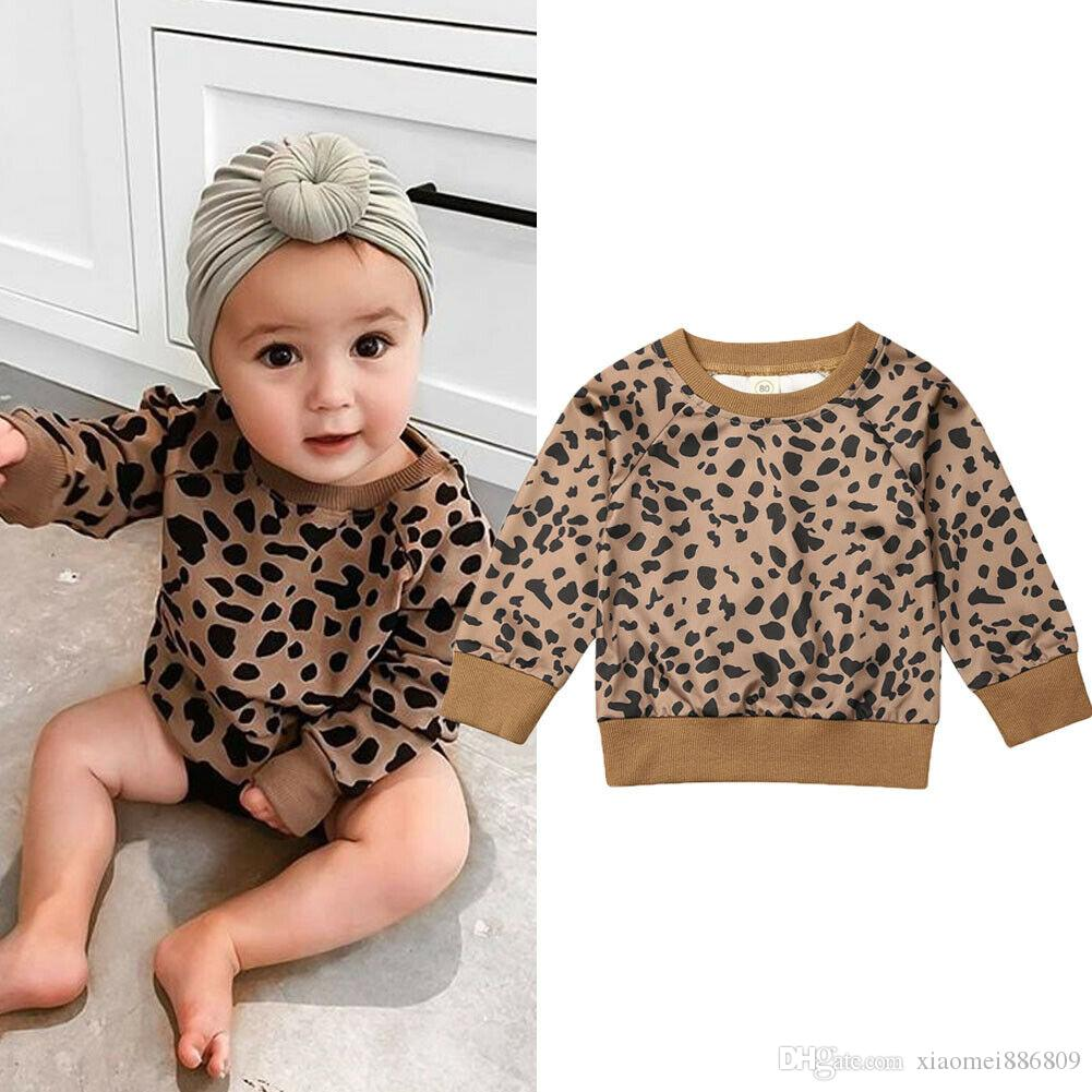 Newborn Infant Baby Girls Leopard T-Shirt Tops Blouse Sweater Sweatshirt Clothes