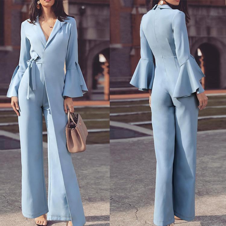 Bleu clair Mère de robes de mariée col en V Poète à manches longues en mousseline de soie Pantalon Taille Plus Mère de mariage Invités Complets