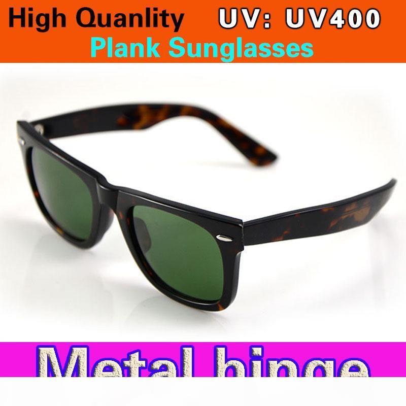 Qualitäts-Plank-Männer Sonnenbrille Tortoise Rahmen Grüne Linse Metallscharnier Sonnenbrillen Frauen Sonnenbrillen Glasobjektiv New unisex Sun Box-Brille